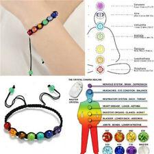 7 Chakra Beads Pendant Chain Bracelet Women Yoga Reiki Healing Balancing Jewelry