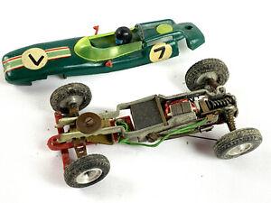 2 Slot car JOMA MINIAMIL MONTHLERY F1 - Porsche + Lotus - suspensions à ressorts