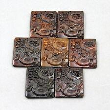 7Pcs Old Jade Gem Lucky Chinese Zodiac Dragon Amulet Pendant