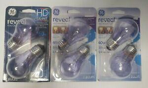 4 GE 48696 40W Reveal & 2 Reveal 60W Ceiling Fan Light Bulbs Vibration Resistant