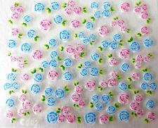 Nail art: Stickers bijoux d'ongles mode - Mini fleurs bleues et roses - pétales