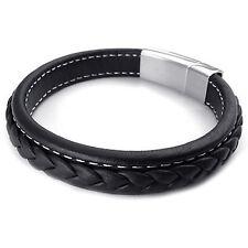 pulsera de joyeria de hombres, brazalete de acero inoxidable de cuero, negro T5