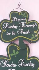 Green Luck of the Irish Clover Wood Sign Shamrock Wall Art Wall Hanging Decor