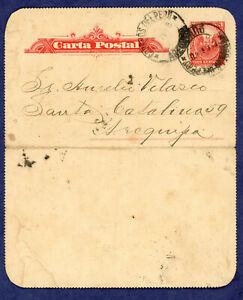 Peru 1908 Letter Card, Puno to Arequipa H&GA1