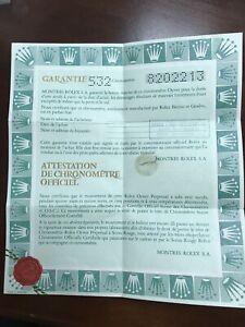 Rolex Certificate Guarantee Warranty Open