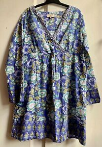 Fab *EAST ARTISAN with ANOKHI* Blue Floral Hand Block Printed Tunic Dress 14