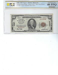 1929 $100 National Bank Note FR1804-1 CH9327 Duluth, Minnesota!!! PCGS 40 XF PPQ