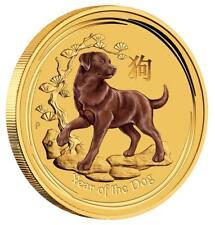 Australien 5 Dollar 2018 Jahr des Hundes 1/20 Oz Gold Stempelglanz in Farbe