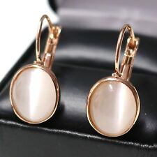 Oval White Moonstone Earring 14K Rose Gold Plated Women Birthday Wedding Jewelry