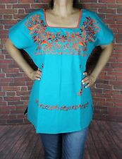TEAL MEDIUM PEASANT OAXACA MANTA EMBROIDERED MEXICAN BLOUSE TOP 100% COTTON