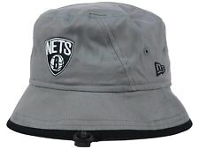 BROOKLYN NETS - NBA NEW ERA GRAY W/ BLACK BRIM Tipped Bucket Boonie Hat LARGE