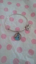 Alex & Ani Disney Cinderella Blue Enamel Silver Charm Bangle Bracelet Rare