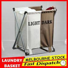 Foldable Laundry Basket Hamper 2 Washing Bag Clothes Sorter Organizer Storage