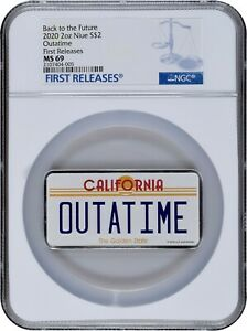 2020 NIUE 2 Oz Back to the Future OUTATIME License Plate Silver Coin NGC MS69 FR