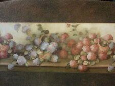 "York Wallpaper Border 10 1/4"" Flowers Leaves Hydrangea Baskets Pink Blue RY3414B"