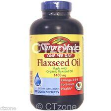 300 Nature Made Organic Flaxseed Oil 1400mg Omega 3 6 9 Heart Health 300 Softgel
