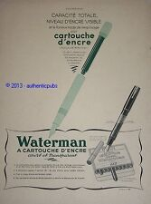 PUBLICITE 1938 CARTOUCHE ENCRE IDEAL WATERMAN JIF NIVEAU VISIBLE FRENCH AD PUB