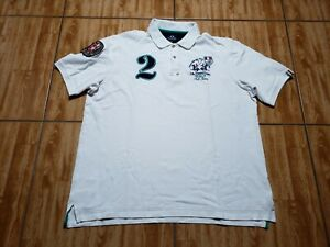 La Martina Short Sleeve Polo Shirt Adult XL White Solid Rugby Mens