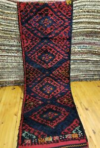 "Bohemian Natural Dye Antique Cr1930-1939s Wool Pile 2'8""×9'6"" Runner"