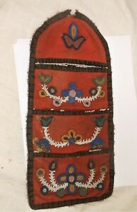 Very Good Antique Woodlands Native American Beaded Triple Wall Pocket