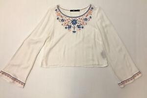 Sportsgirl White Embroidered Hippy Boho Festival Top Size 8 Long Sleeve