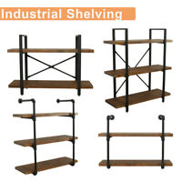 2/3 Tiers Wall Shelf Industrial Iron Pipe Shelving Bookshelf Bracket Home Stands