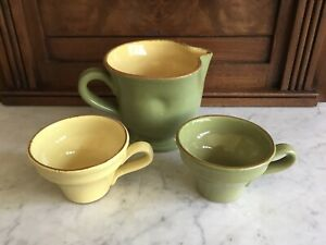 Vietri Hillsborough Pitcher and 2 Cup - from Priscilla Presley estate sale