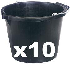 10 X 15 LITRE BLACK BUILDERS BUCKET -STRONG - DIY -WATER -WORKMAN -MIXING BUCKET