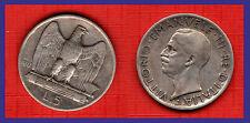 Italia Regno - Vittorio Emanuele III lire 5 aquilino 1927