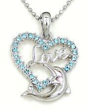 NWT DOLPHIN HEART LOVE PENDANT CRYSTAL CHARM SILVER CHAIN NECKLACE AQUA DAUGHTER