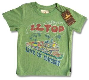 ZZ Top Trunk LTD Live In Concert Train Kids Youth Green T Shirt NEW