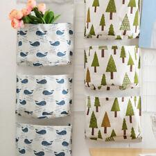 3 Pockets Wall Door Closet Home Hanging Storage Bag Linen Organizer Pouch 6A