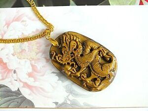 TIGER'S EYE CHINESE L DRAGON AMULET PENDANT COIN NECKLACE ZODIAC ANIMAL BIRTHDAY
