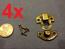 4 sets Dark mini dollhouse Antique wood latch Sets Box Case Lock hinge small c7