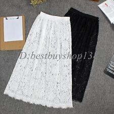 Women Long Lace Slip Skirt Extender A Line Knee Length  Skirts Extenders