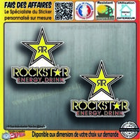 2 Stickers autocollant Rockstar energy drink decal sponsor adhésif