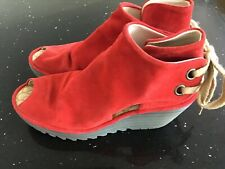 FLY LONDON RED SUEDE WEDGE SANDALS UK 7 EU 40