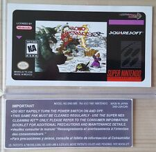 REPLACEMENT SNES CARTRIDGE STICKER LABELS FOR: CHRONO TRIGGER