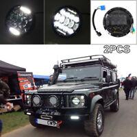 "2x 150W Land Rover &    Defender LED Headlights RHD 7"" 90 110 Hi/Lo Beam DRL"