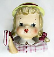 VIntage girl head vase porcelain blonde pigtails bows Japan hat 3 in headvase