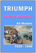TRIUMPH Parts Manual 1939 1940 T100 T80 T70 5H 3H 2H 2HC 6S 3S 3SE 3SW 3SC 5S SE