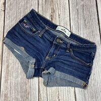 Hollister Womens Size 0 W24 Dark Wash Logo Pockets Dark Wash Short Jean Shorts