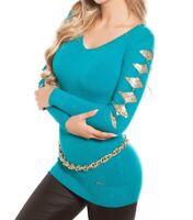 CAMISETA AZUL ORO mujer suéter manga larga camisa escote V lentejuelas pull AZ12