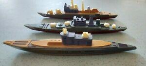 3 Vintage plastic warships toys on wheels