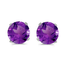 14k White Gold 5 mm Natural Round Amethyst Stud Earrings