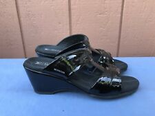 EUC Mephisto 39 US 9 Black Patent Leather Sandals Open Toe Straps Wedge A5