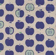 Sevenberry Linen Blend Fabric - Apples - Blue - 75% Cotton 25% Linen