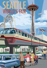 Space Needle Opening Day Scene - Seattle, Wa Poster Print, 13x19