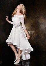 High Low Short White Ivory Wedding Dress Bridal Gown Custom Size 6 8 10 12 14 16