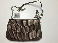 NWT COACH MADISON GATHERED LEATHER ZIP CROSSBODY SILVER BRONZE F48498
